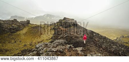 Panoramic View Of Volcanic Crater Landscape In Snaefellsnes National Park, Hiker Walking On The Crat