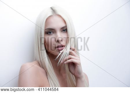 Close-up of a worried beautiful woman blonde