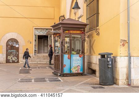 Palma De Mallorca, Spain; March 04 2021: Lottery Kiosk Of The Spanish National Organization For The
