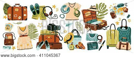Travel Stuff. Set Of Various Luggage Bags, Suitcases, Cosmetics, Clothes. Vacation, Holiday. Collect