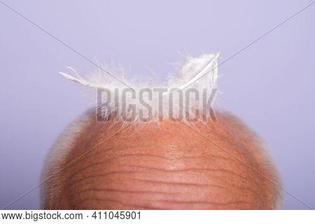 Senior Man Haircare. Closeup Old Bald Male. Hair Loss, Baldness, Health Problems, Aging