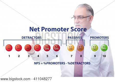 Net Promoter Score NPS concept with businessman pressing virtual