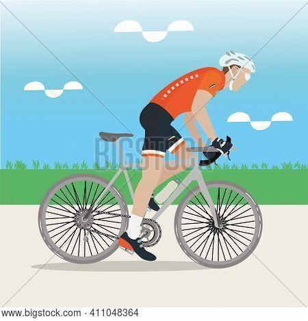 Cyclist Man On Road Bike - Vector Illustration
