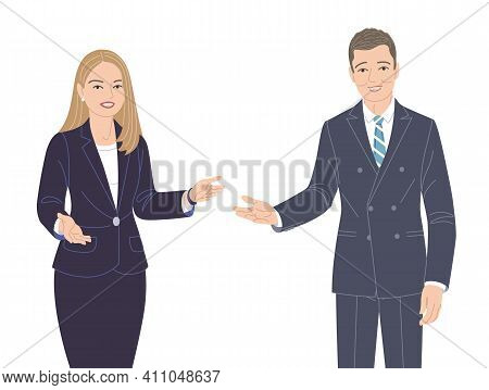 Friendly Business Woman And Man In Strict Clothes Isolated On White. Office Worker, Spokesperson, Pr