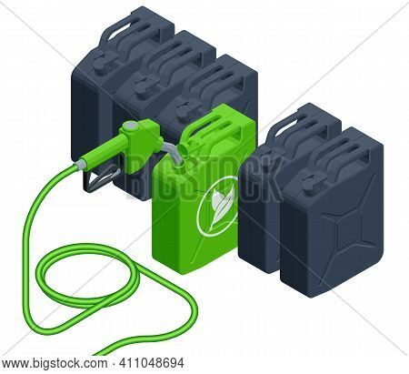 Isometric Biofuel Barrels With Biofuel. Gas Pump Nozzle And Green Jerrycan. Green Energy. Save The E