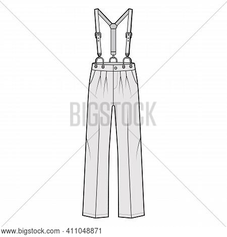 Suspender Pants Dungarees Technical Fashion Illustration With Full Length, Low Waist, Rise, Pockets.