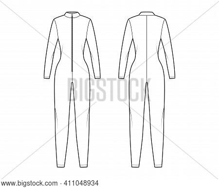Catcuit Dungaree Overall Technical Fashion Illustration With Full Length, Zipper Closure, Fitted Bod
