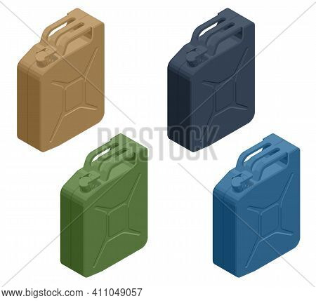 Isometric Metal Fuel Container Jerrycans. Canister For Gasoline, Diesel Gas. Fire Resistant Storage