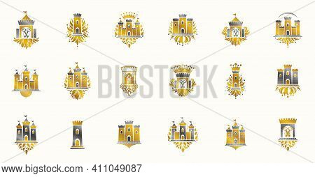 Castles Logos Big Vector Set, Vintage Heraldic Fortresses Emblems Collection, Classic Style Heraldry