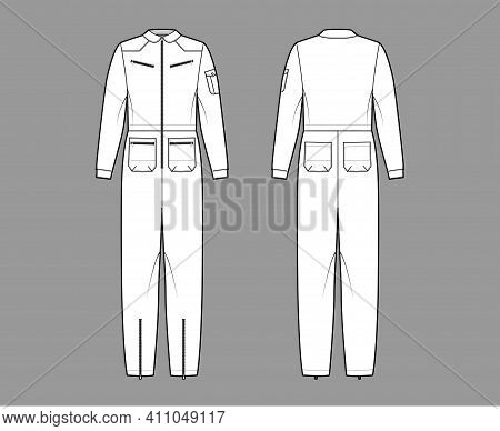 Aviator Jumpsuit Overall Dungarees Technical Fashion Illustration With Full Length, Normal Waist, Zi