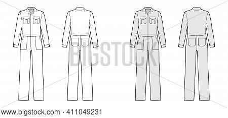 Workers Jumpsuit Overall Technical Fashion Illustration With Full Length, Normal Waist, Flap Square