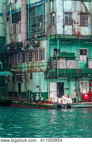 Hong Kong, China - May 12, 2010: Aberdeen Harbour. Closeup Of Green Ugly Kitchen Back Corner Side Of