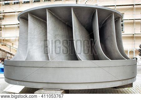 A Francis Hydro Turbine Outdoors At The German Museum.
