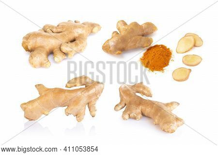 Set Of Fresh Ginger Root With Slice And Power Islolated On White Background For Herb And Medical Pro