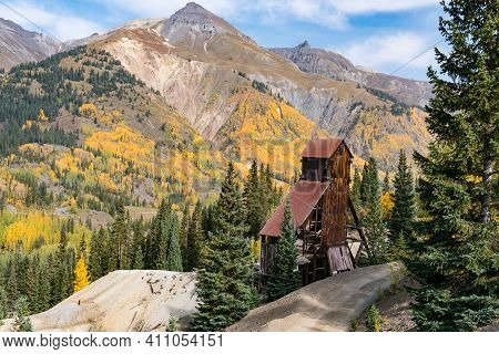 Ruins Of The Old Yankee Girl Gold Mine In The San Juan Mountains Near Ouray, Colorado