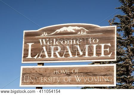 Laramie, Wy - December 5, 2020:  Welcome To Laramie - Home Of The University Of Wyoming Along Route