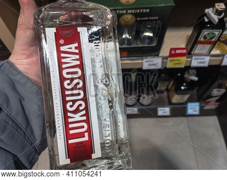 Belgrade, Serbia - February 23, 2021: Luksusowa Logo On Some Bottles For Sale. Luksusowa A Brand Of