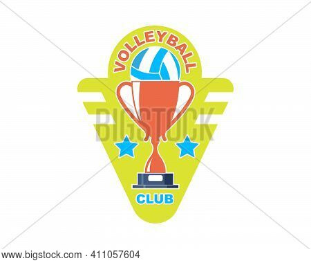 Badge And Logo Of Volley Ball Club Vector Icon Illustration