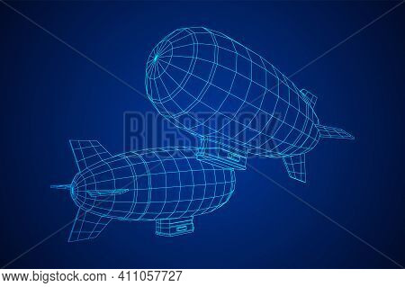 Airship Dirigible Airway Travel Transport. Air Ship With Gondola Cabin. Wireframe Low Poly Mesh Vect