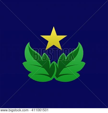 Leaves Logo. Leaves. Leaf Logo. Leaves With Star Logo. Leaves Vector. Leaves Illustration. Nature Lo