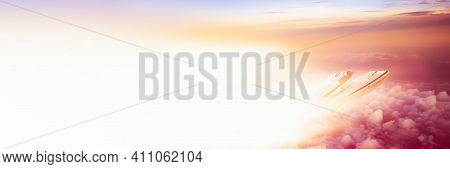 The Plane Transports A Spaceship Into Space. Shuttle Against The Background Of The Sky With Clouds A