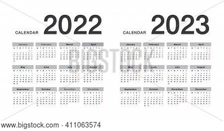 Year 2022 And Year 2023 Calendar Horizontal Vector Design Template, Simple And Clean Design. Calenda