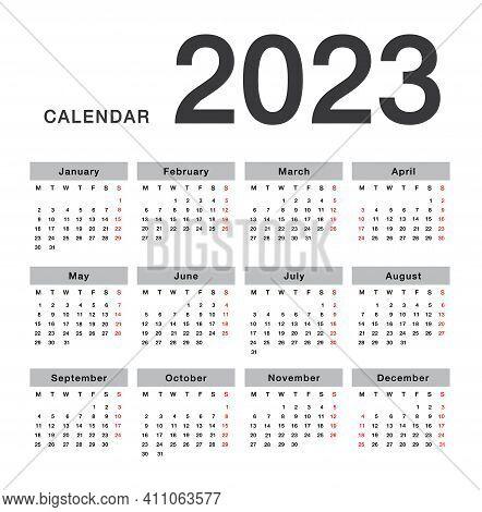 Year 2023 Calendar Horizontal Vector Design Template, Simple And Clean Design. Calendar For 2023 On