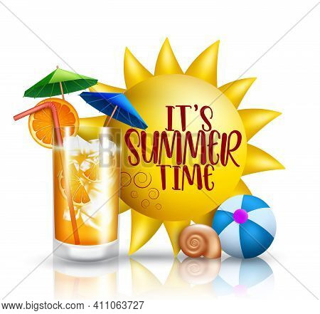 Summer Time Vector Concept Design. It's Summer Time Text With 3d Tropical Season Elements Like Sun,
