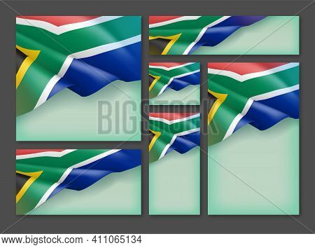 South Africa Waving Flag Patriotic Backgrounds Set. Reconciliation, Freedom, Independence Day Celebr