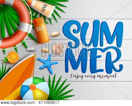 Summer Vector Banner Background. Summer Text In Wood Texture With Tropical Elements Like Lifebuoy, S