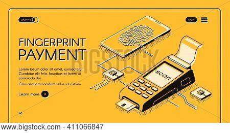 Fingerprint Payment Service Isometric Vector Web Banner With Digital Chip, Fingerprint And Credit Ca