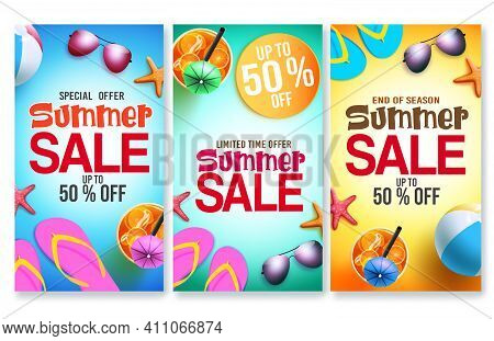 Summer Sale Vector Poster Set. Summer Sale Text Offer In Colorful Background With Elements Like Drin