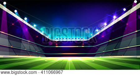 Empty Soccer Field Illuminated With Projectors Lights Cartoon Vector Illustration. Open Roof Stadium