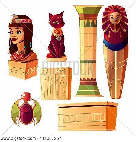 Vector Egyptian Cartoon Set - Bust Of Queen, Pharaoh Sarcophagus, Ancient Pillar And Other Symbols O