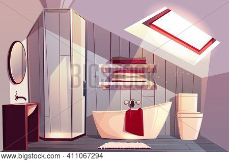 Vector Interior Of Bathroom In Attic. Modern Restroom With Glass Shower Cabin And Shelves For Towels
