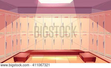 Gym Or Sport Club Locker Room Interior Cartoon Vector With Two Rows Of Closed Personal Lockers And C
