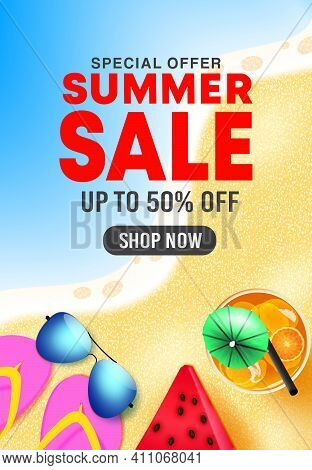 Summer Sale Vector Poster Design. Summer Sale 50% Off Shop Now Text In Beach Background With Tropica