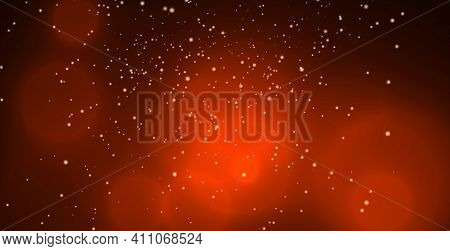Red Background With Shimmering Orange Round Boke And Flying Chaotically White Particles.