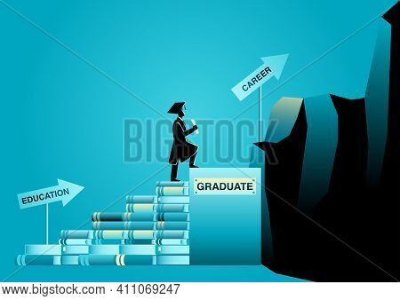 Vector Illustration Of A Student Wearing Toga Climbing Stairs Made From Books