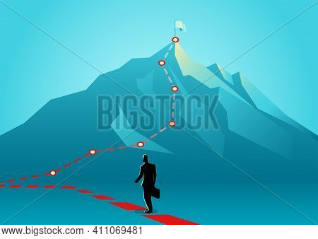 Business Concept Vector Illustration Of A Businessman Following The Red Lines Which Leading To The T