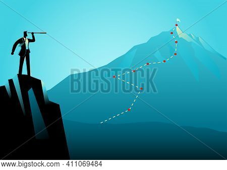 Business Concept Illustration Of A Businessman On Top Of The Rock Using Telescope Looking To The Top
