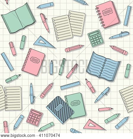 Colorful School Supplies And Office Stationary Stickers And Patches On A Notebook Sheet In A Cell. V