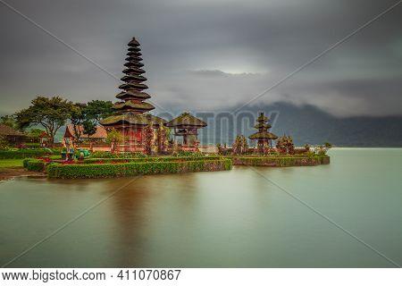 Pura Ulun Danu Bratan Temple In Bali Island. Beautiful Balinese Temple During Sunrise. Balinese Land