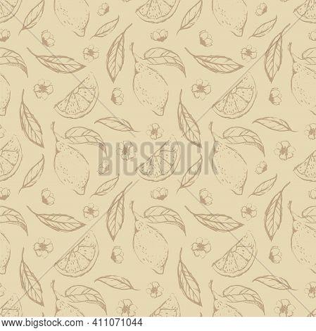 Lemon Hand Draw Seamless Pattern Background Wallpaper. Cute Seamless Pattern With Lemons. Vector Sea