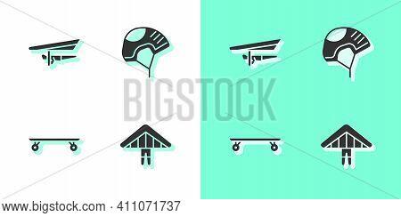 Set Hang Glider, , Longboard Or Skateboard And Helmet Icon. Vector