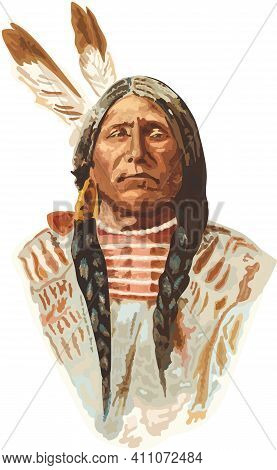 Vector Realistic Portrait Of Native American Indian In Traditional Clothing