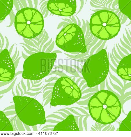 Lime And Palm Leaves Seamless Vector Pattern. Seamless Pattern With Lime On Dypsis Palm Leaves Light
