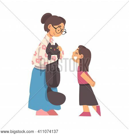 Grandma Stroking Cat Talking To Her Granddaughter Vector Illustration