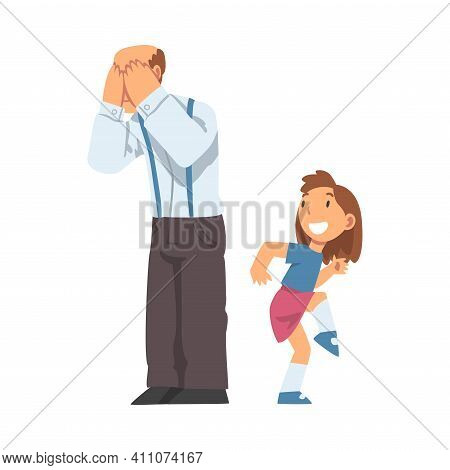 Grandpa Playing Hide-and-seek With His Granddaughter Vector Illustration