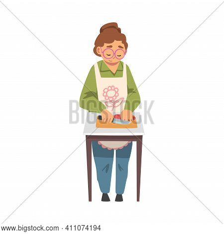 Grandma In Glasses Standing At Table Cooking Vector Illustration
